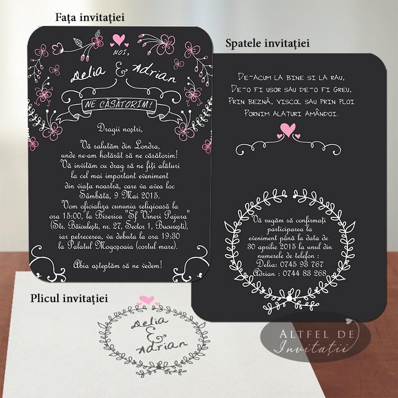 Invitatii nunta Noi suntem cool auriu roz nude - Altfeldeinvitatii.ro