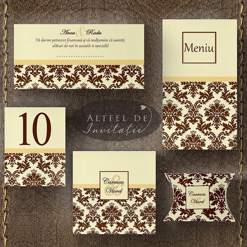 Set Complet nunta Londra maro ivoire: invitatii, place card, meniu, numar, cutiuta - Altfeldeinvitatii.ro