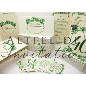 Set complet papetarie nunta Regina noptii verde - Altfeldeinvitatii