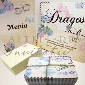 Set complet papetare nunta shabby chic Carte postala - Altfeldeinvitatii.ro