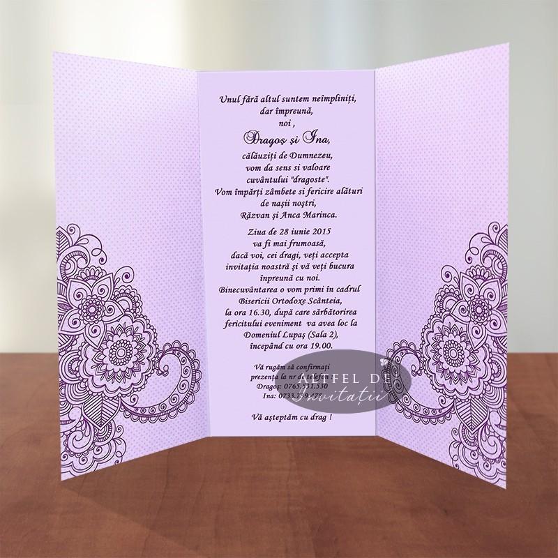 Invitatii de nunta Legamant mov lila deschis - Altfeldeinvitatii.ro