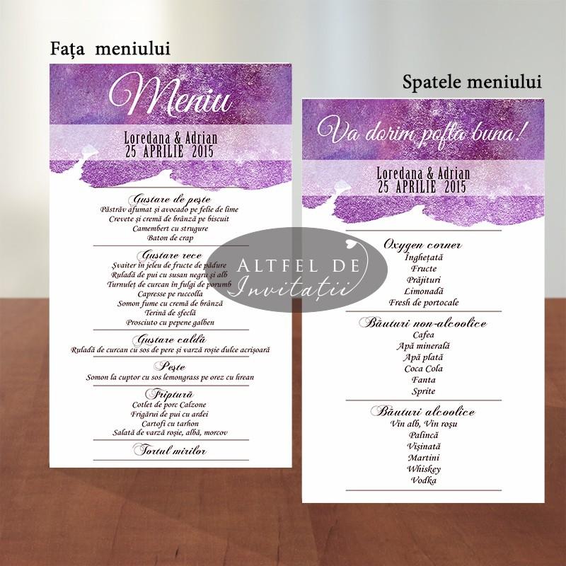 Meniu individual nunta Acuarela - Altfeldeinvitatii.ro