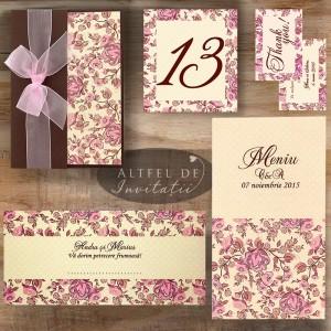 Set complet papetarie de nunta Prima intalnire maro crem ivoire roz - Altfeldeinvitatii.ro