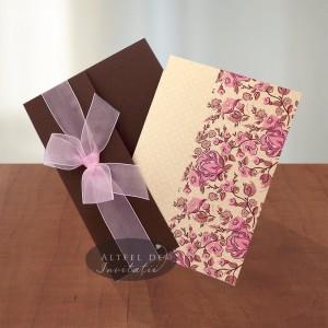 Invitatie nunta Prima intalnire maro crem roz - Altfeldeinvitatii.ro