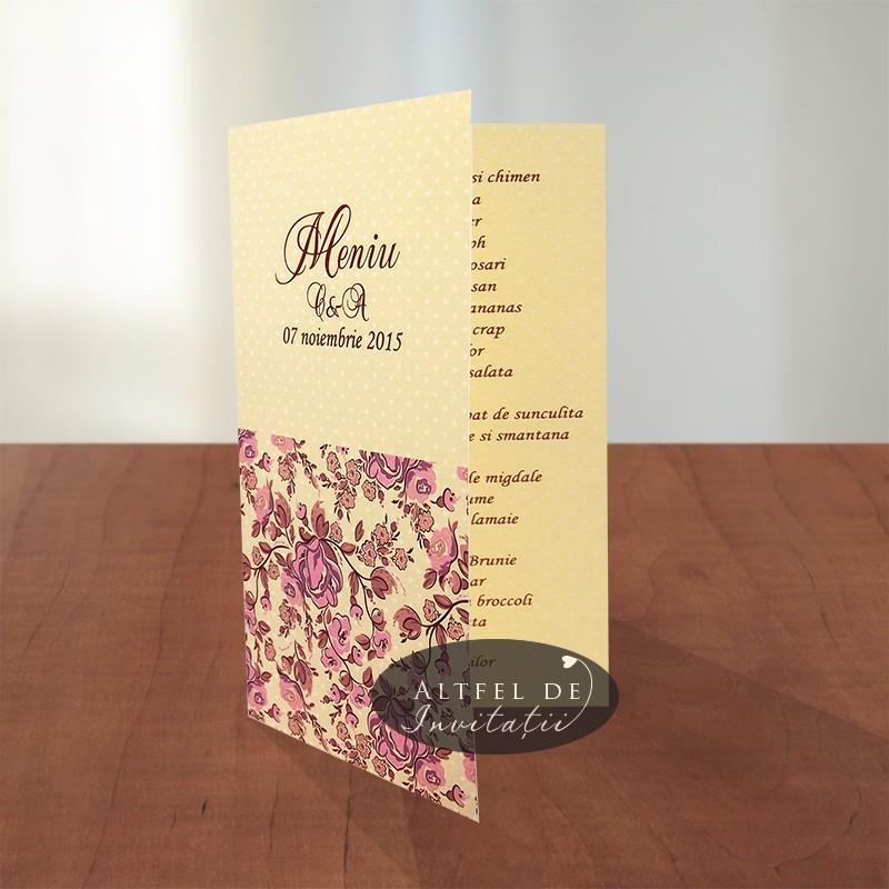 Meniu nunta Prima intalnire crem roz ivoire piersica - Altfeldeinvitatii.ro