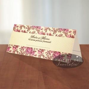 Place card Prima intalnire crem cu trandafiri roz si piersica