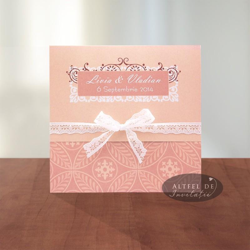 Invitatii nunta Vals vienez roz cu danela alba - Altfeldeinvitatii.ro - spate si interior