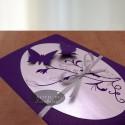 Invitatie nunta Zbor de fluturi 012 argintiu-mov