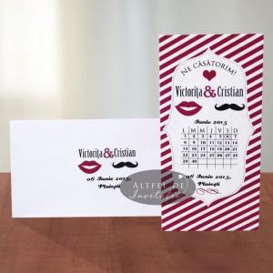 Invitatii de nunta Noi doi -  roz buze, mustata si timeline - Altfeldeinvitatii.ro