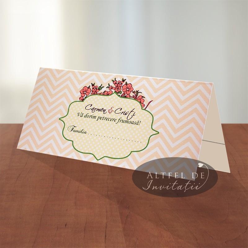 Place card nunta Regina noptii - somon - Altfeldeinvitatii.ro