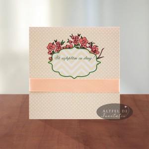 Invitatie nunta Flori de vis patrata somon spate - Altfeldeinvitatii.ro