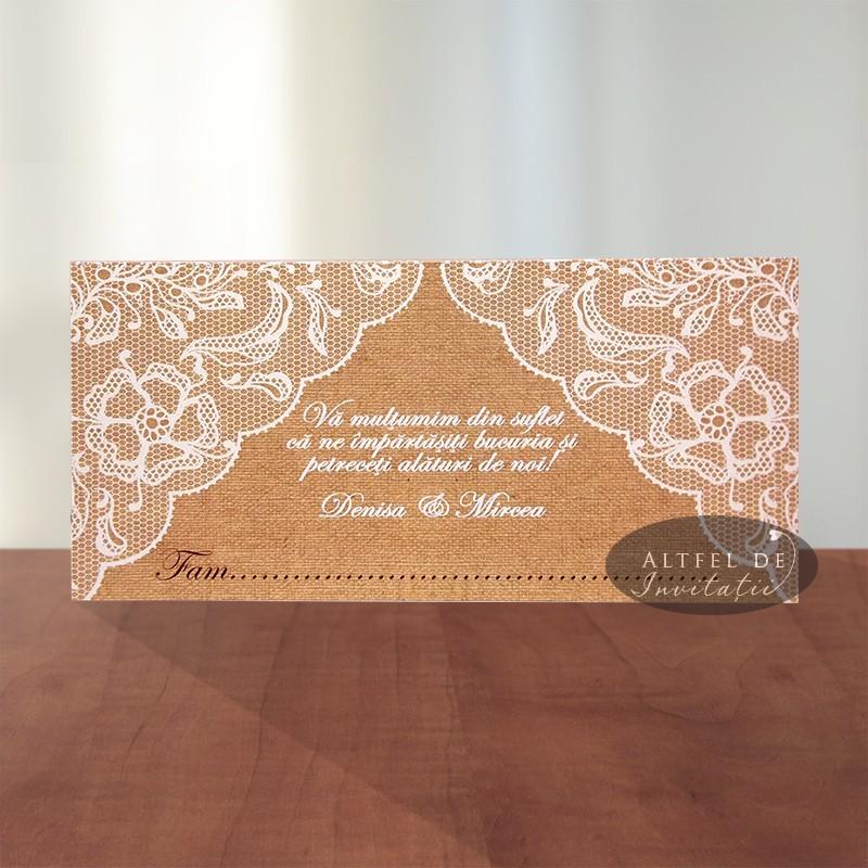 Place card nunta vintage Tentatie Rafinata
