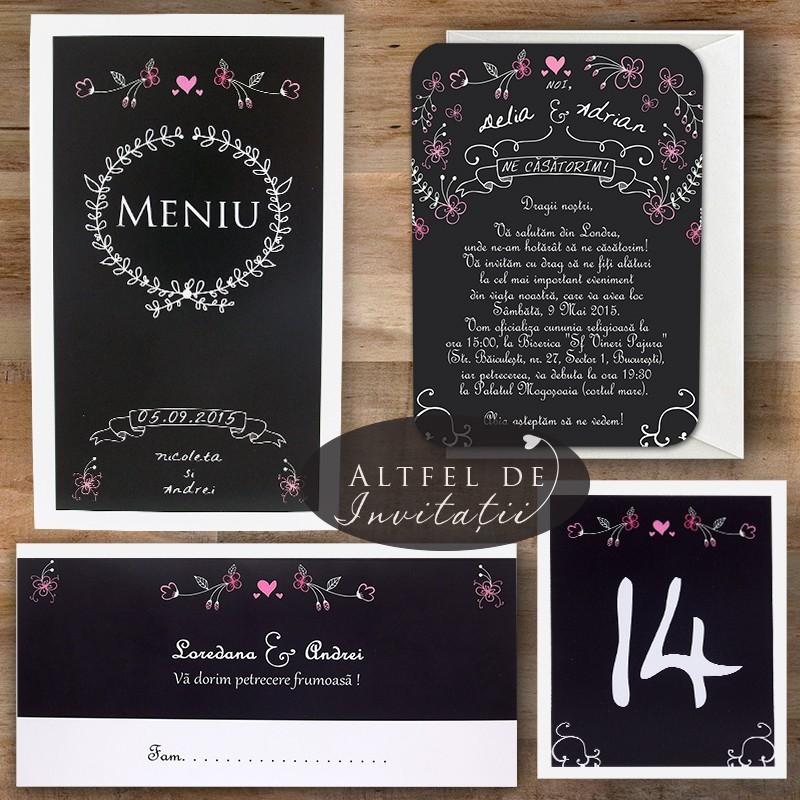 Set complet papetarie nunta noi suntem cool alb negru - Altfeldeinvitatt.ro