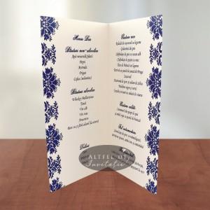 Meniu nunta Contraste crem (fildes) - albastru