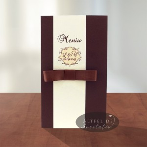 Meniu de nunta Cafea cu zahar cu papion Altfel de invitatii