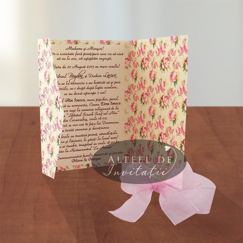 Invitatie nunta cu imprimeu floral vintage  - Dulce pretuire - Altfeldeinvitatii.ro