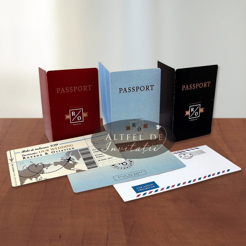 Invitatie de nunta Bilet de avion cu pasaport