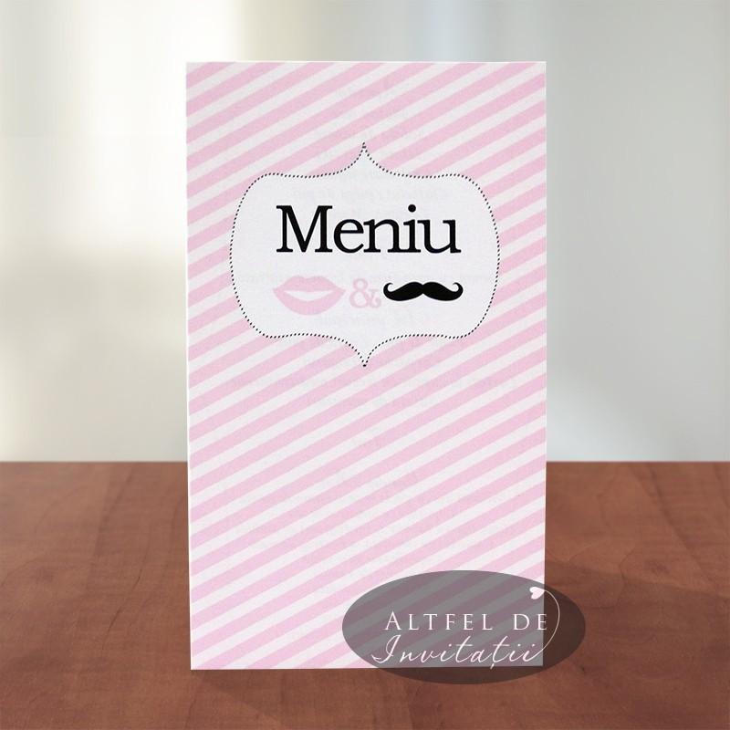 Meniu pentru nunta Noi doi alb roz cu mustata si buze - Altfel de invitatii
