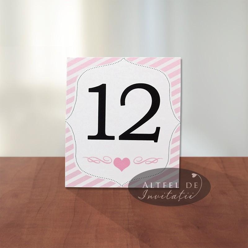 Numar de masa nunta Noi doi roz- Altfel de invitatii