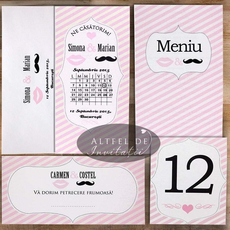 Set complet papetarie pentru nunta Noi doi roz - altfel de invitatii