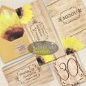 Set complet nunta Rustic cu floarea soarelui - Altfeldeinvitatii.ro