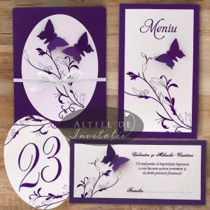 Set papetarie complet nunta Zbor de fluturi violet cu fluturi decupati manual