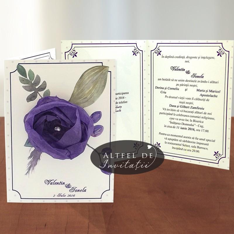 Invitatii nunta Flori de hartie - mov - altfel de invitatii