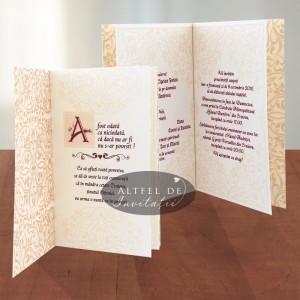 Invitatie nunta Poveste de dragoste grena