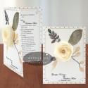 Invitatii nunta Flori de hartie - crem