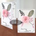 Invitatii nunta Flori de hartie - roz