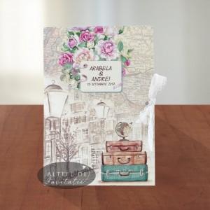 Invitatii nunta Voiaj vintage