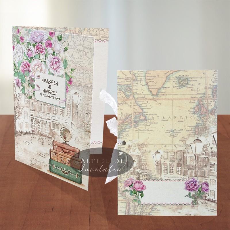 Invitatii nunta Voiaj vintage - altfeldeinvitatii