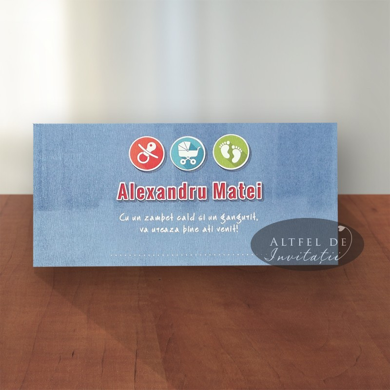 Place card botez Contemporan