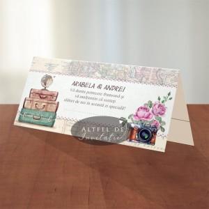Place card nunta Voiaj vintage