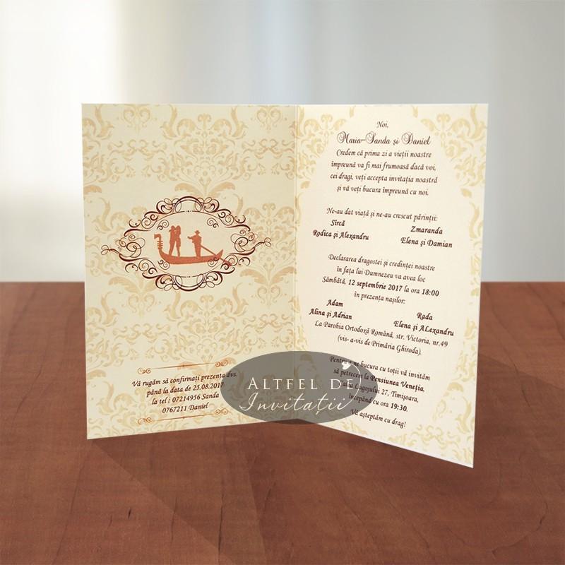 Invitatie nunta Masti venetiene