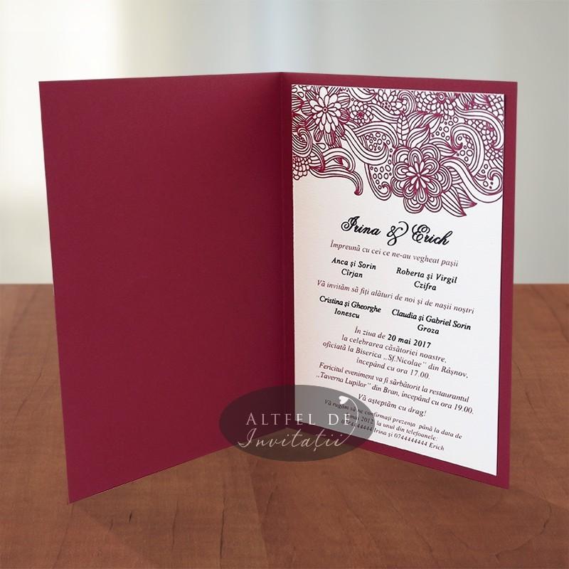Invitatii nunta Berlin visiniu