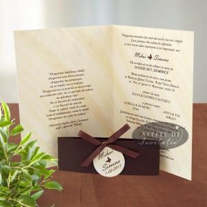Invitatii nunta Dansul Fluturilor maro