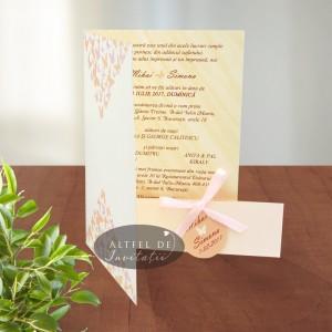 Invitatii nunta Dansul Fluturilor somon
