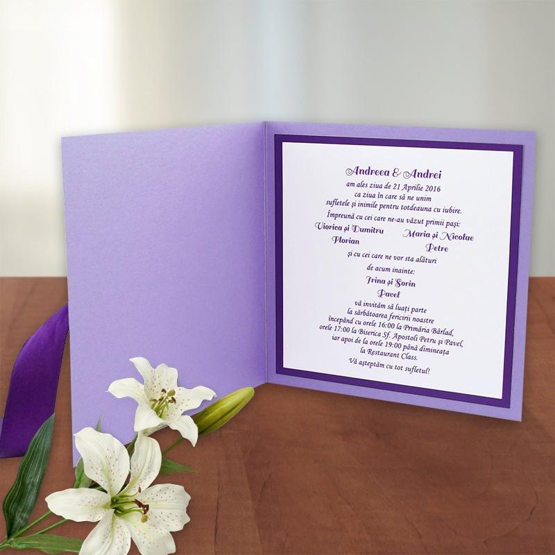Invitatie nunta Culoarea dragostei 016c mov