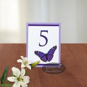 Numar de masa nunta fluture N016c mov-alb