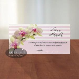 Plic de bani Orhidee MCN14 roz- scris verde