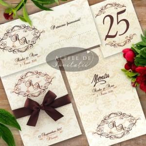 Set complet papetarie nunta Masti Venetiene cu initiale