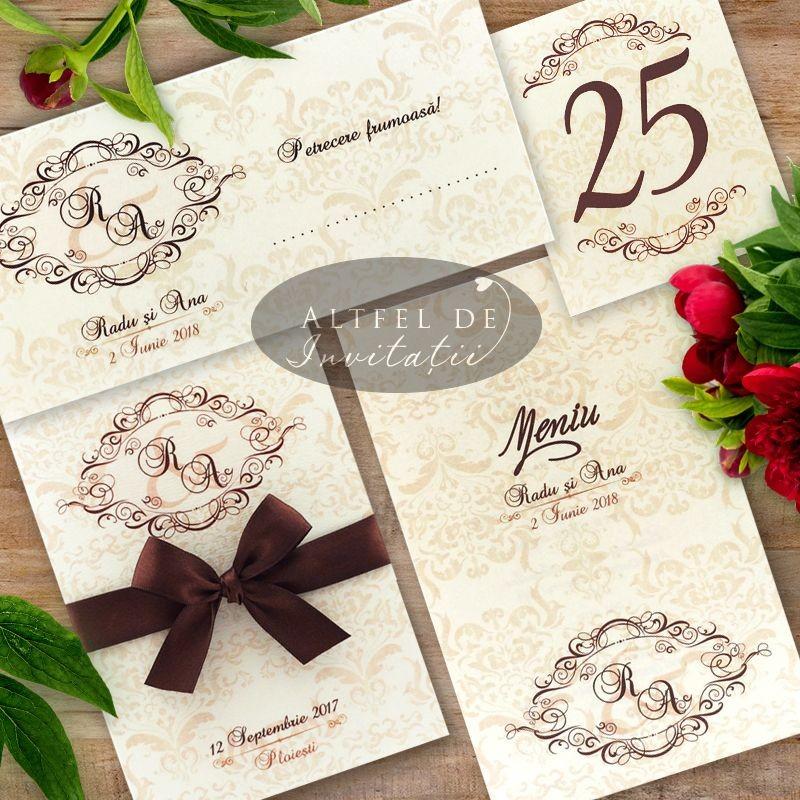 Set complet papetarie nunta Masti Venetiene - initiale