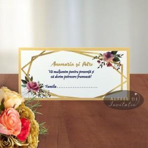 Place card nunta Apus printre ramuri