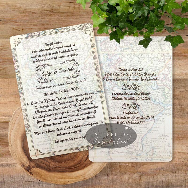Invitatie nunta Mapamond