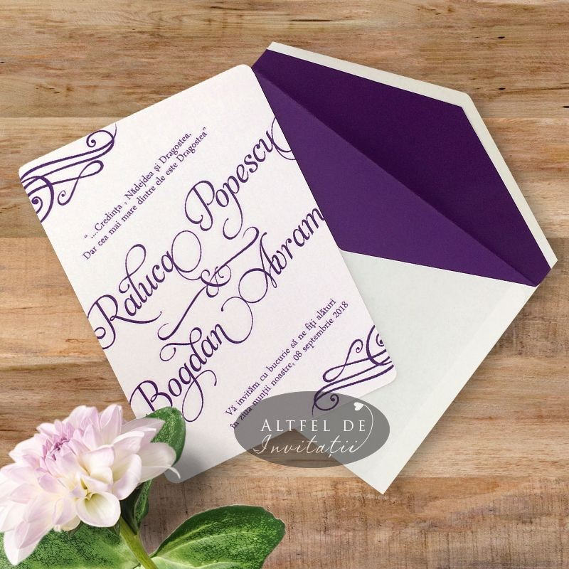 Invitatie nunta Univers lila