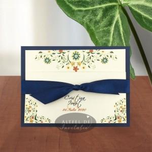Invitatie nunta Florile dragostei bleumarin