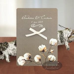 Invitatie nunta Flori de bumbac