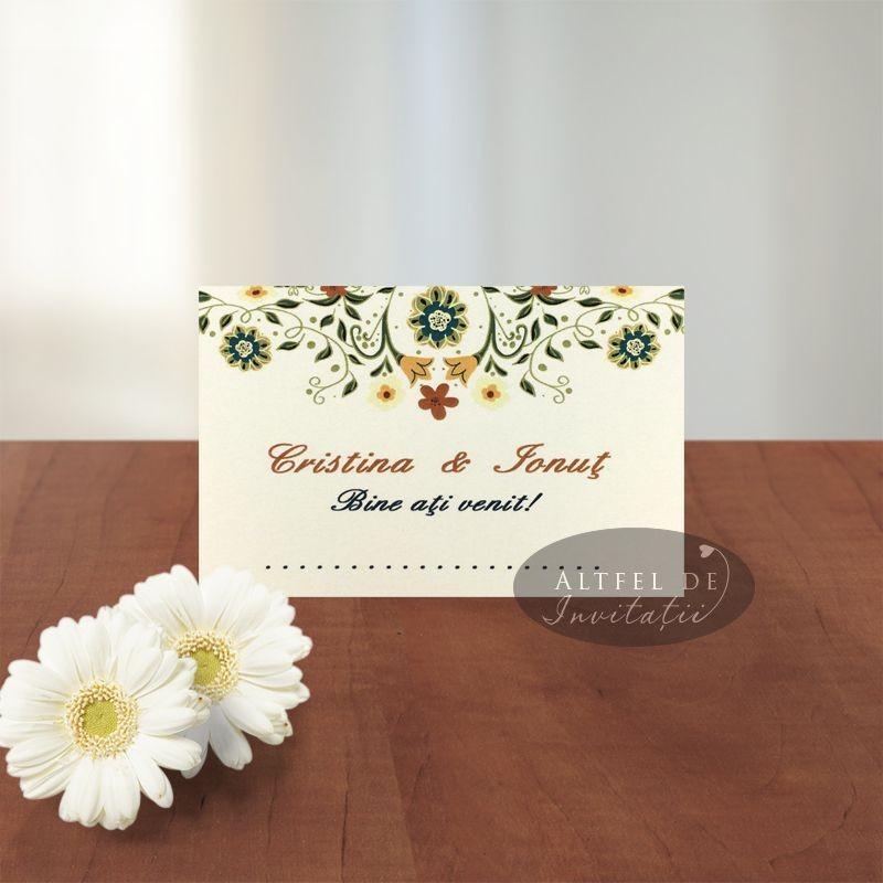 Card asezare Florile Dragostei crem