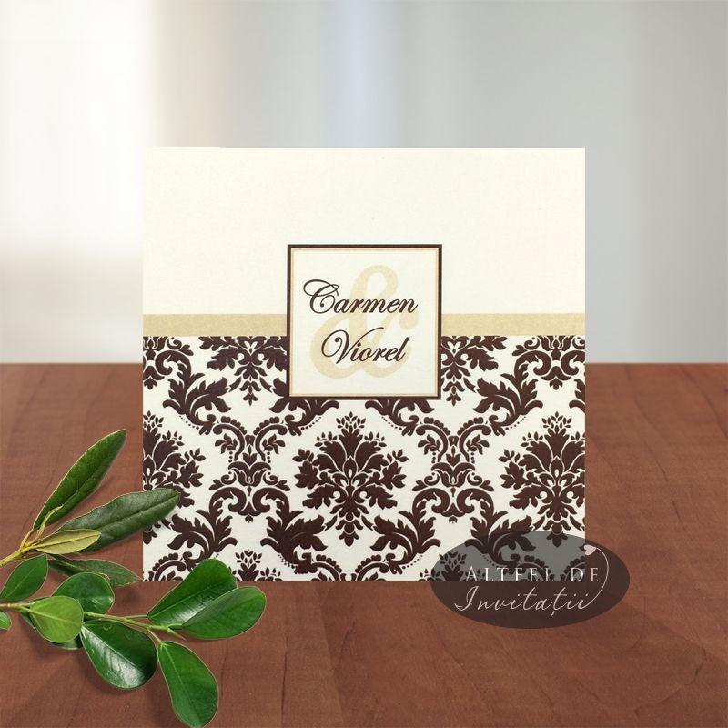 Invitatie nunta Londra CN8 maro-crem